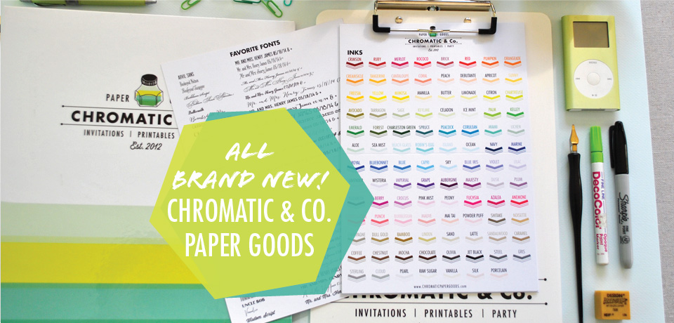 All new party, wedding invitations and paper goods from Chromatic and Co.