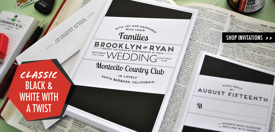 Classic Black & White Wedding Invitations with a Twist from Chromatic and Co.