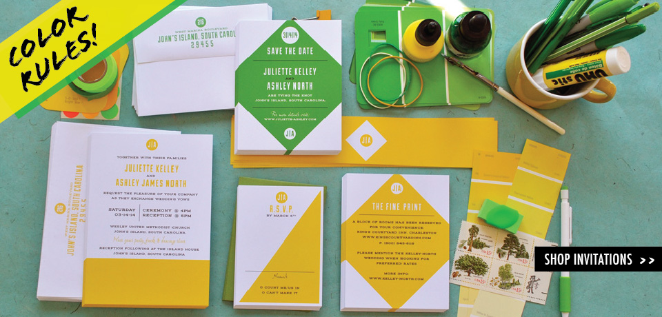 yellow color block wedding invitation cards from Chromatic and Co.