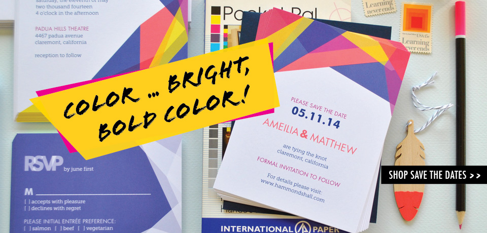 multi-color modern geometric wedding save the dates from Chromatic and Co.