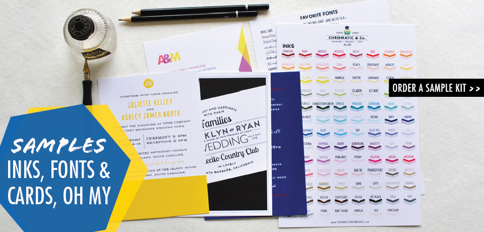 wedding invitation samples and color swatches from Chromatic and Co.