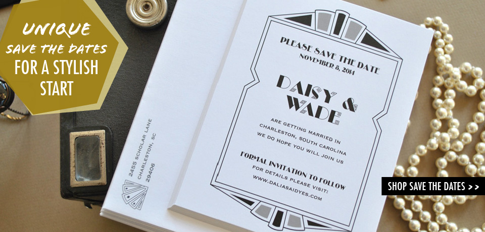 Art Deco Save the Dates from Chromatic and Co.