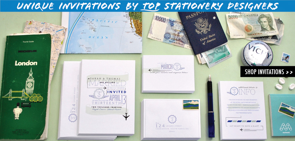 Unique Travel and Destination Wedding invitations from top Stationery Designers at Chromatic and Co.