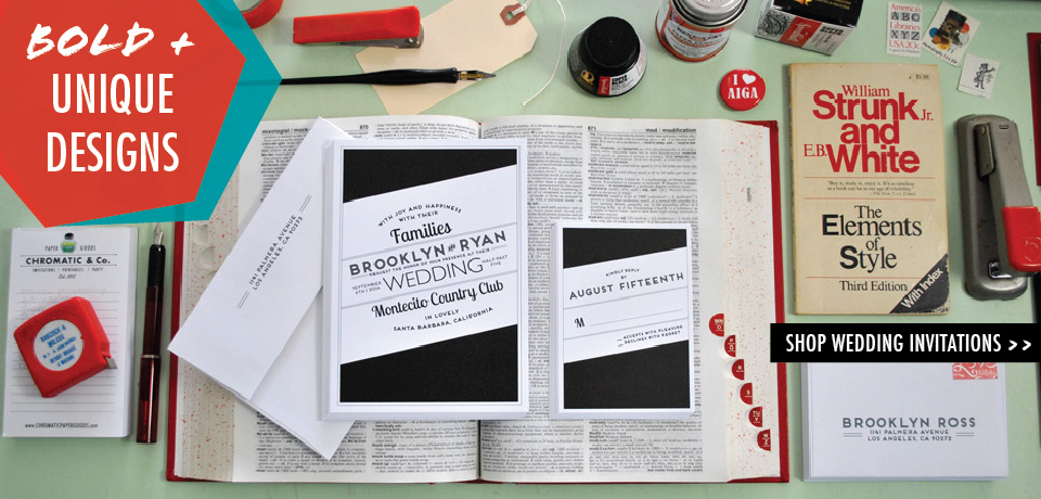 black, red and white Broadway Wedding Invitations from Chromatic and Co.